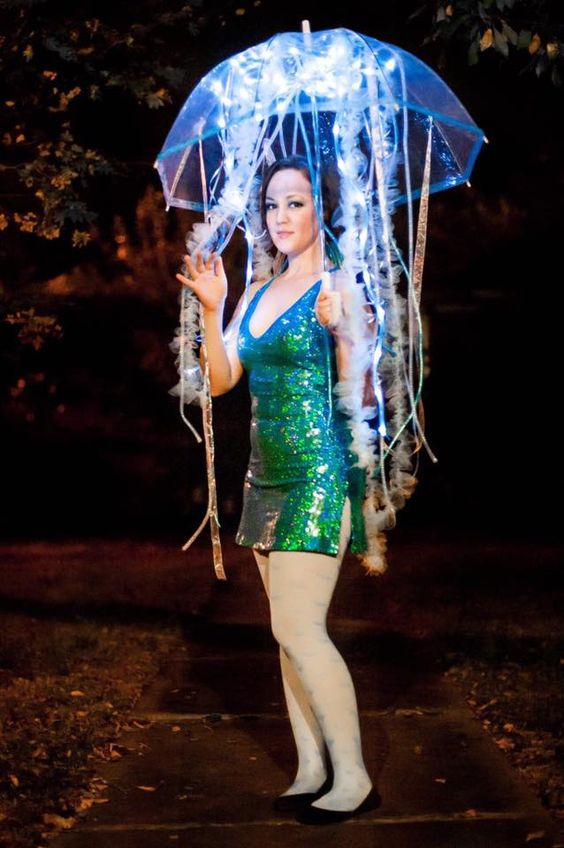 Jellyfish Halloween Costume. Tubular crinoline, battery-operated LED lights, and an umbrella!
