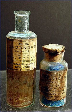laudanum for pain, blue vitriol for running sores: