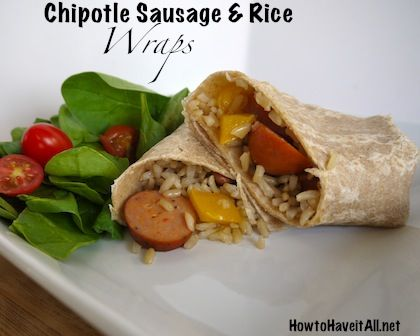 Chicken sausage, Chipotle chicken and Rice wraps on Pinterest