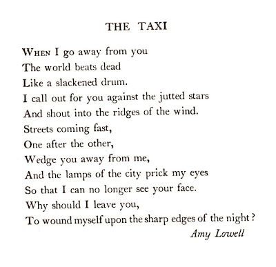 the taxi by amy lowell essay writer