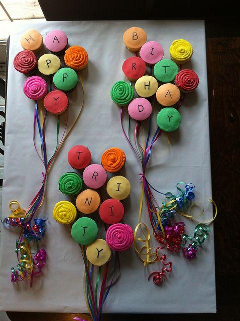 Happy birthday balloon cupcakes