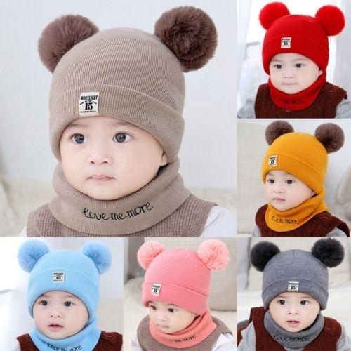 Toddler Baby Kid Boy Girl Winter Warm Pom Bobble Knit Hat Beanie Cap Scarf Set