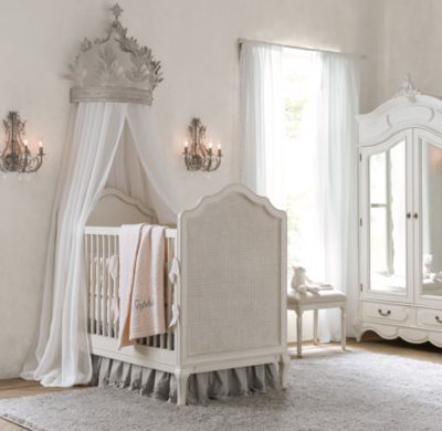 Heirloom white demilune metal canopy bed crown children for Nursery crown canopy