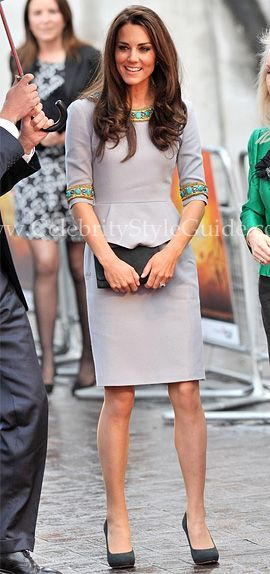 Catherine, Duchess of Cambridge, arrives wearing a Matthew Williamson dress at the UK premiere of African Cats on Wednesday (April 25) at BFI Southbank in London, England.