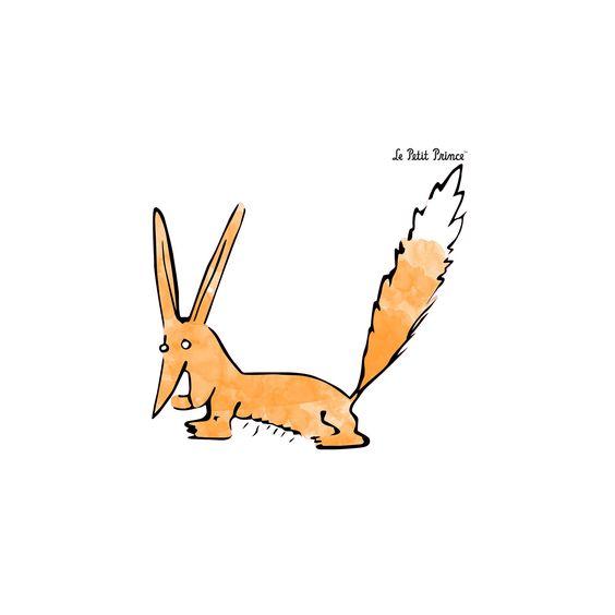 Le petit prince stickers le renard aquarelle chambre for Stickers deco chambre enfant