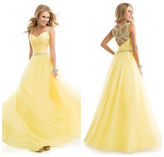 Yellow Sweetheart Neck Backless Long Chiffon Prom Dress 2016 For Party ,Sd0066 on Luulla