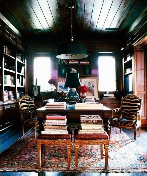 dark.  sexy. Mine.: Dark Ceiling, Workspace, Zebra Chairs, Home Office, Interiors Offices, Zebra Print