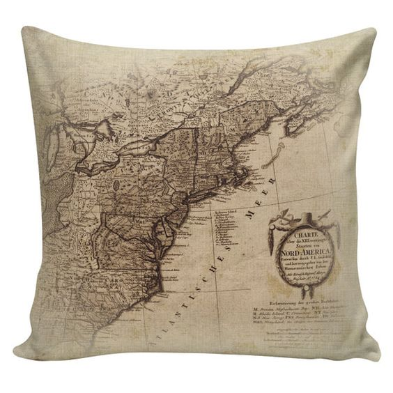 Vintage French Map Of Eastern Seaboard North America From Etsy French Vintage Cotton Throw Pillow Pillow Covers