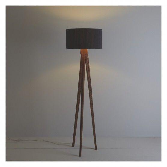 Tripod Walnut Wooden Floor Lamp With Black Silk Shade