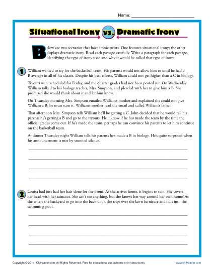 Worksheets Identifying Irony Worksheet worksheets and activities on pinterest dramatic irony worksheet practice activity