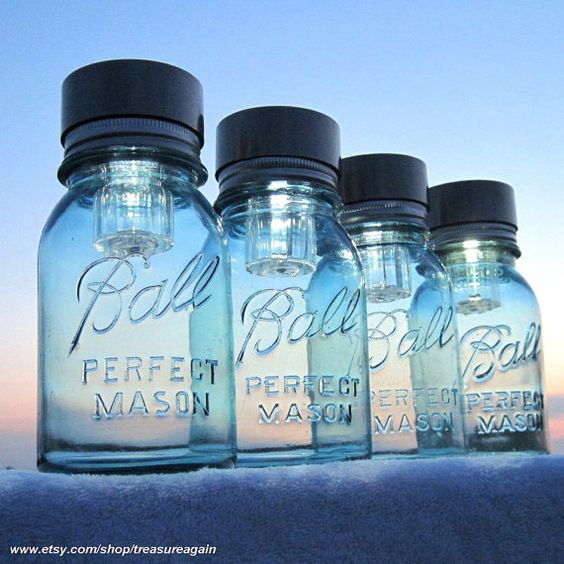 Mason Jars Solar Lights 4 Outdoor Mason Jar by treasureagain,: Ball Jars, Mason Jar Lighting, Jars Solar, Jars Garden, Mason Jars
