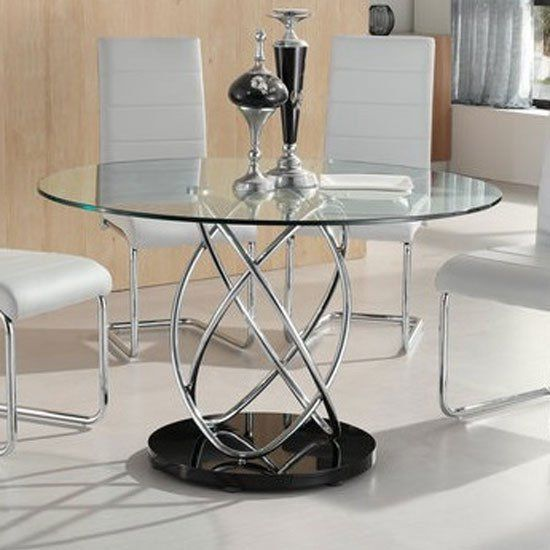 Marseille Glass Dining Table In Clear With Chrome Supports In 2020
