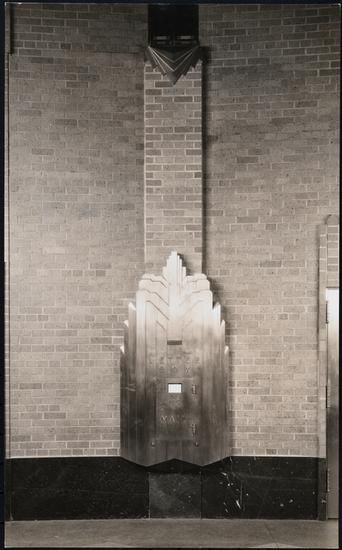 [Interior, detail of letter box.]