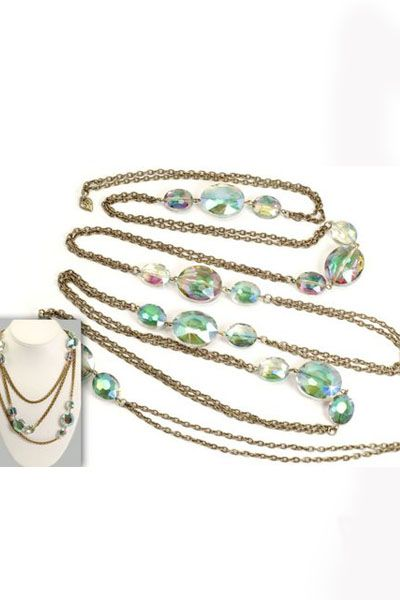 SALE!!! Jewelry By Sweet Romance Green Oval Crystal Necklace - Unique Vintage - Prom dresses, retro dresses, retro swimsuits.