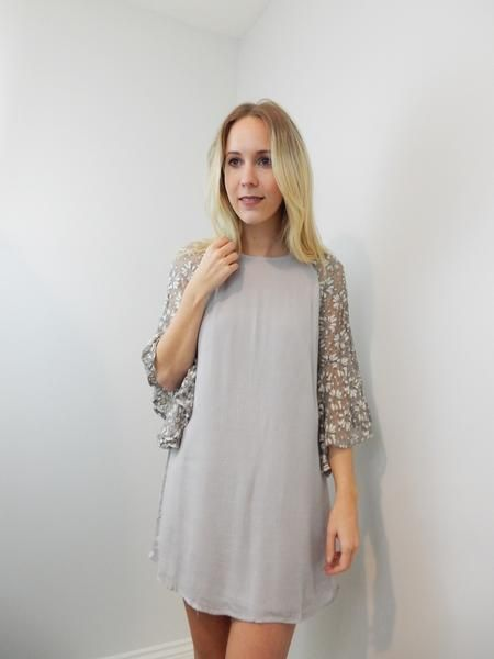 Light grey/lavender shift dress with lace bell sleeves