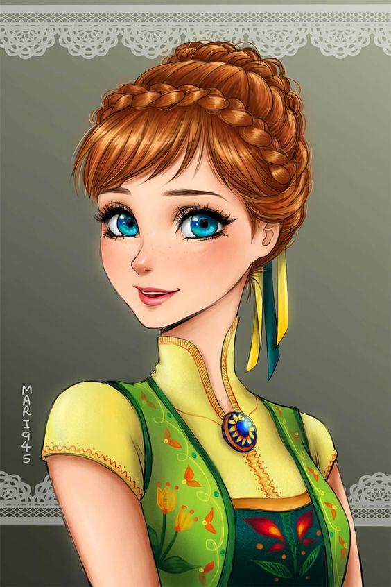 Anna - Princesas Disney Estilo Anime http://www.justlia.com.br/2016/02/princesas-disney-em-estilo-anime/: