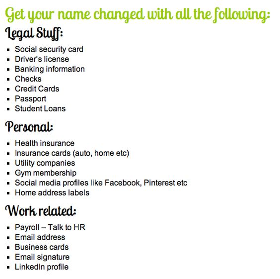Where to change your last name.. I didn't even think about half of these places :/