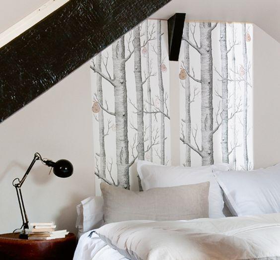 Idee tête de lit en papier peint  chambre parents