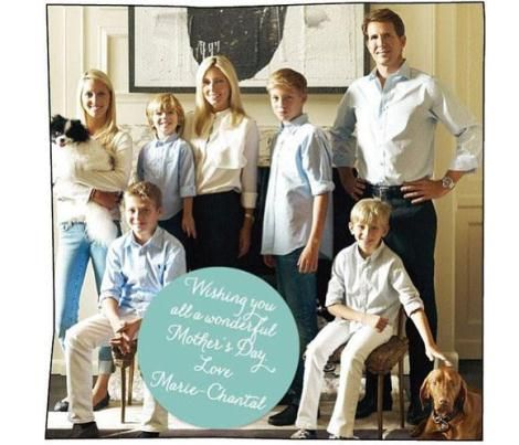 Noblesse & Royautés » Greek Royal Family celebrate Mother's Day (in England-it's the fourth Sunday during Lent):  l-r Maria Olympia, Aristide, Marie Chantal, Constantine, Pavlos; front l-r Achileas and Oldysseas