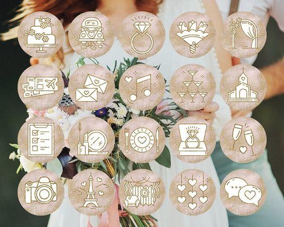 Wedding Instagram Story Highlight Covers Pink Gold Glitter | Etsy