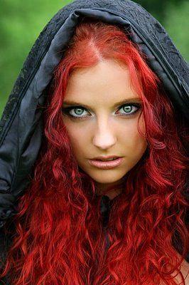 red hair.green eyes.