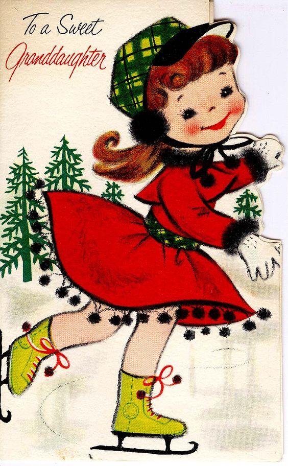 #midcentury #Christmas #greetingcard #skating #girl #forgetmenot
