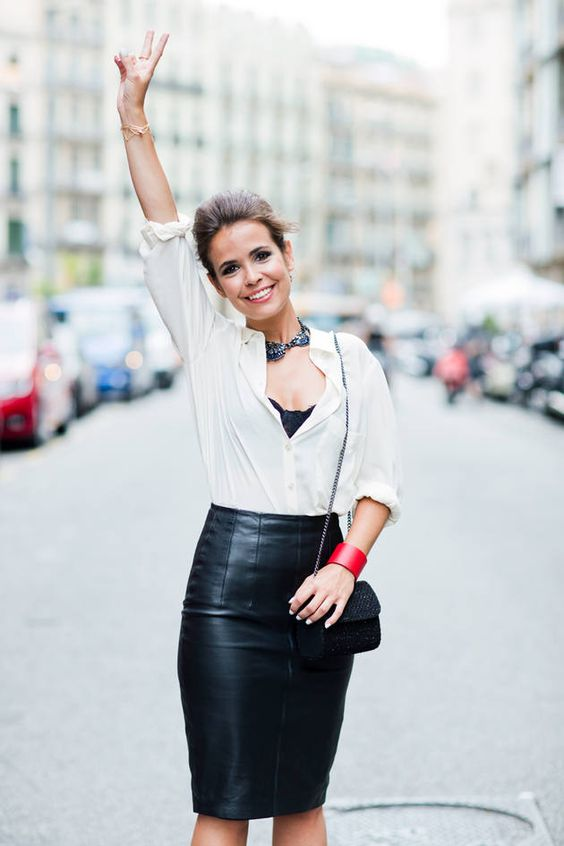 white shirt, leather skirt | 101 ways to wear a white shirt ...