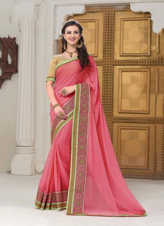 Get huge collection of stylish saree to wear in party. Order now! This superb pink designer saree. Customization and worldwide free shipping.