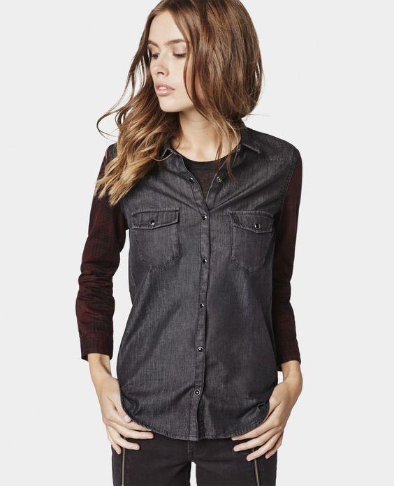 Chemise en denim à manches à carreaux - Chemises - Femme - The Kooples