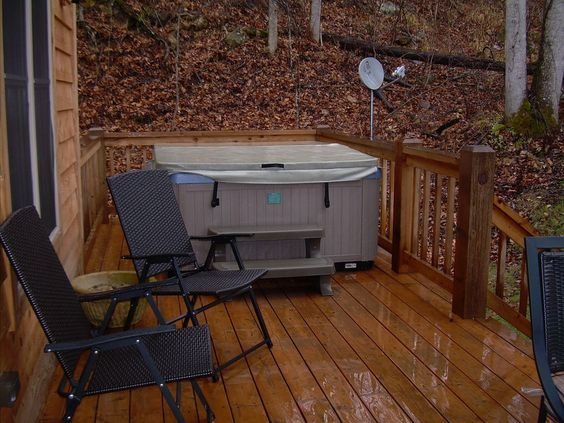 Hot Tub Closed on Deck, Chairs, View in Fall
