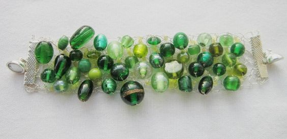 Beaded knitted bracelet, shades of green £11.50