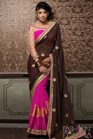 Brown & Pink Faux Georgette Party Wear Saree www.fashionfemina... #partywearsaree #designersaree #buyonlinesaree, #designercollection #onlineshoppingsaree #embroiderysaree, #latestcollection #partywearcollection,