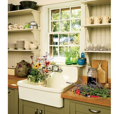 old farmhouse kitchen - sink, olive cabinet color, off white walls