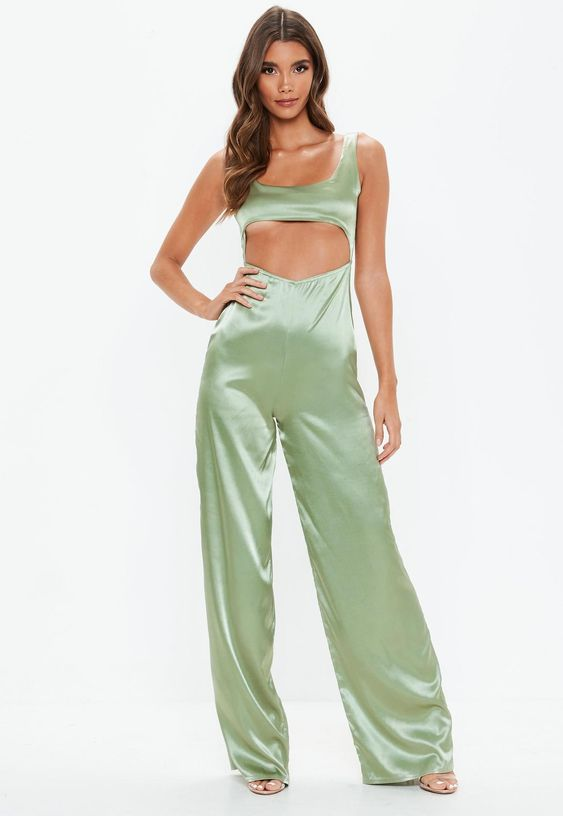 Green Cut Out Satin Jumpsuit