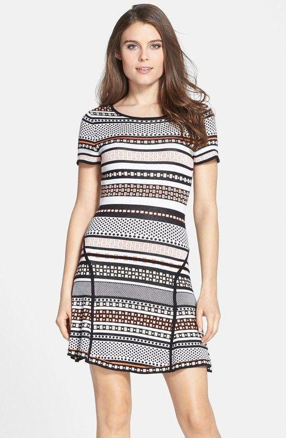 CeCe by Cynthia Steffe Print Fit & Flare Sweater Dress (Regular & Petite) $ 70.80
