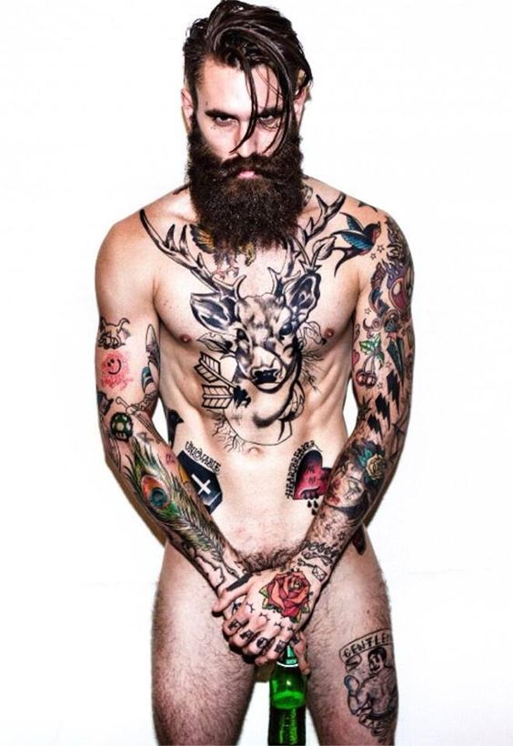 Naked tattooed model men