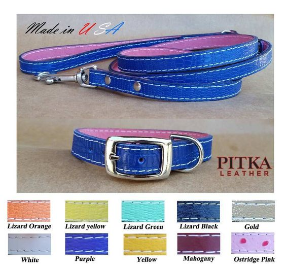Puppy Collars and Leashes Leather Collars and Leashes Made in USA XS or Small…