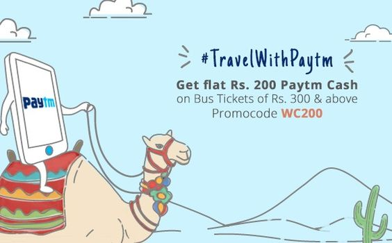 #Paytm Bus Ticket Offers - Use promo code WC200 & get Rs. 200 Paytm cash on booking bus tickets priced at Rs. 300 & up!  ‪#busticketcoupons  ‪Read on for T&C's.