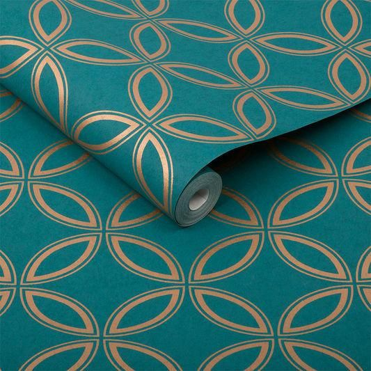 Eternity Wallpaper In Teal And Copper From The Exclusives Collection B In 2021 Teal And Gold Wallpaper Teal Wallpaper Copper Wallpaper