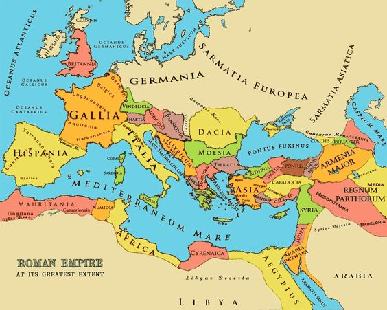 This is a map showing the Roman Empire at its greatest extent. This was reached in the year 117CE under the emperor Trajan.