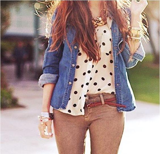 Look do Dia = Camisa Jeans + Pois (Bolinhas)