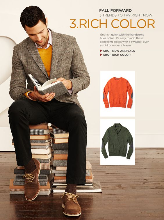 I like the mustard sweater with the grey jacket. Cool classic look.