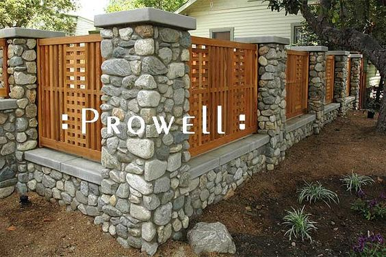Outdoor, Wood And Stone Fence Designs With Cedar Fence