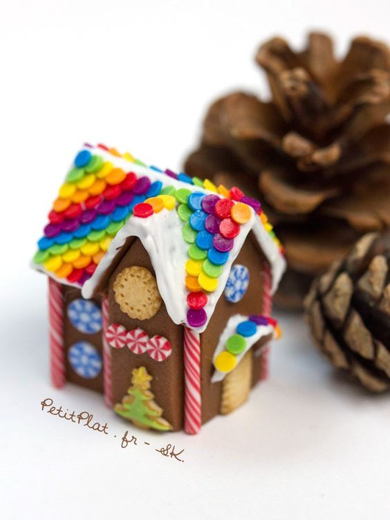 Miniature Gingerbread Houses with vivid colorful Polymer Clay