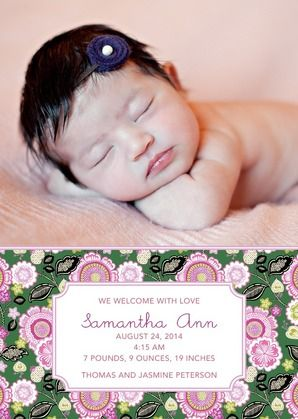 Surround your little girl in Vera Bradley's pink azalea birth announcement.