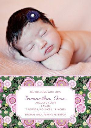 Surround your little girl in Vera Bradley's pink azalea birth announcement.