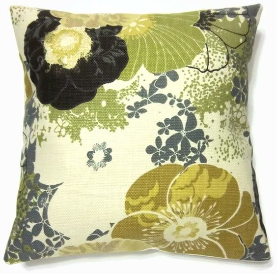 Mustard Throw Pillow Covers : Decorative Pillow Cover Green Chartreuse Mustard Yellow Charcoal Gray Black Ecru White Handmade ...