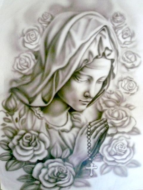 Tattoo black tattoo black and grey and mother mary on for Black and grey tattoo designs