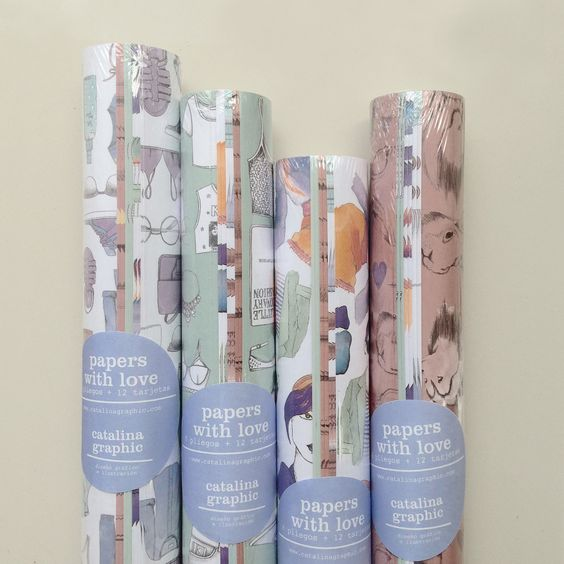 PAPERS WITH LOVE  Rollo x 8 papeles + 12 tarjetas de/para adhesivas  #love #illustrated #wrappingpaper