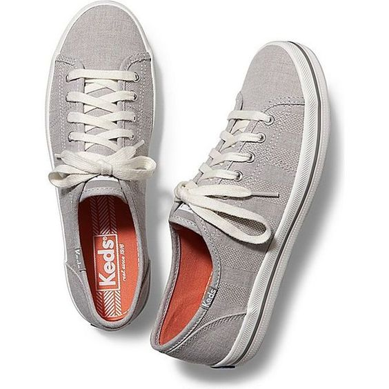 Keds KICKSTART CHAMBRAY STRIPE (€49) ❤ liked on Polyvore featuring shoes, sneakers, flats, drizzle gray, keds shoes, grey sneakers, grey shoes, striped flats and grey flats